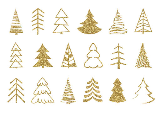 Gold Christmas tree set. Gold glitter texture. Christmas holiday symbols.