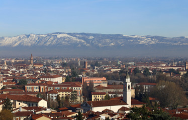 panoramic view of vicenza city in Italy with many bell towers