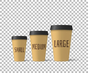 Realistic coffee cups isolated on a transparent background. Paper cups mockup. Vector illustration