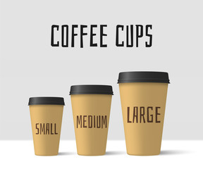 Realistic coffee cups. Paper cups mockup. Vector illustration