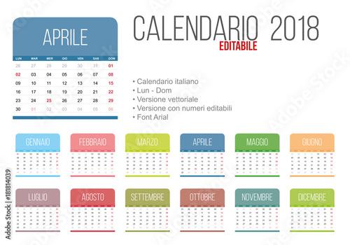 Calendario 2020 Editabile.Calendario Editabile Calendario 2020