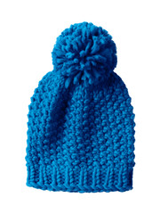 Blue woolen winter cap hat with a pom pom pompon isolated on white