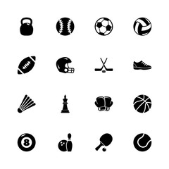 Sport Equipment icons - Expand to any size - Change to any colour. Flat Vector Icons - Black Illustration on White Background.