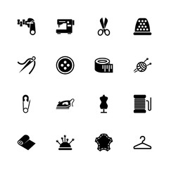 Tailoring icons - Expand to any size - Change to any colour. Flat Vector Icons - Black Illustration on White Background.