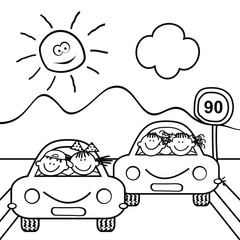 Kids at cars and traffic sign, landscape, coloring book for children, vector icon