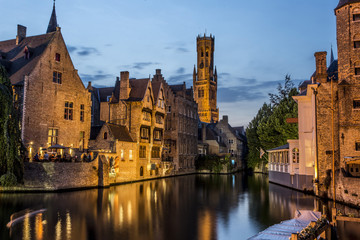 Wall Murals Bridges Night view of old Brugges