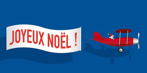 noël - père noël - avion - banderole - carte de vœux - joyeux noël - concept - humour - bannière