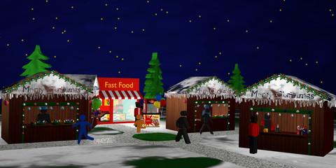 Christkindlmarkt mit Figuren bei Nacht