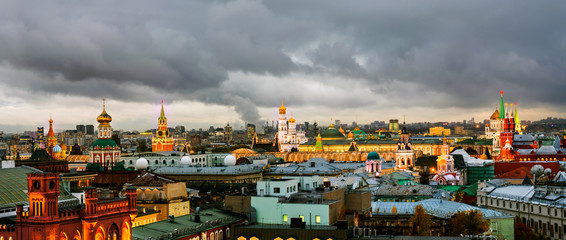 Aerial view of popular landmarks - Kremlin walls, Saint Basil Cathedral in Moscow, Russia