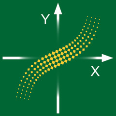 Graph of the function. Pictogram on a green background.