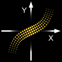 Graph of the function. Pictogram on a black background.