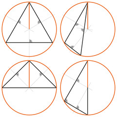 Circle and triangle. Escribed circle of a triangle. Isolated on a white background. Mathematics.