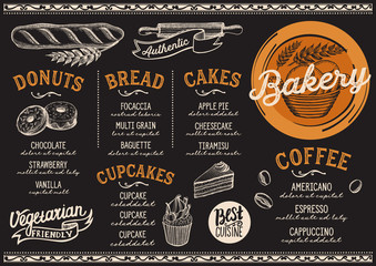 Bakery menu restaurant, food template.