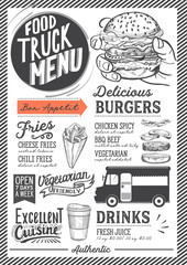 Food truck menu template.