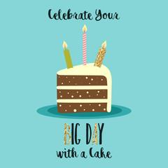 Birthday invitation with cake