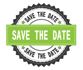 SAVE THE DATE text on grey and green round stamp, with zig zag b