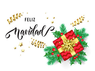 Feliz Navidad Merry Christmas Spanish trendy quote calligraphy on white premium background for winter holiday design template. Vector Christmas tree holly wreath decoration in golden ribbon confetti