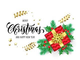 Merry Christmas and Happy New Year hand drawn quote calligraphy for holiday greeting card background template. Vector Christmas tree holly wreath decoration, golden ribbon confetti on premium white