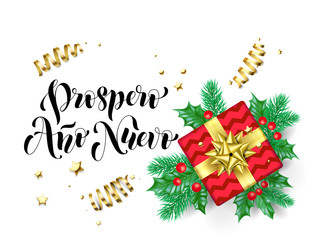 Prospero Ano Nuevo Happy New Year Spanish calligraphy hand drawn text for greeting card background template. Vector Christmas tree holly wreath decoration, golden confetti ribbon premium white design