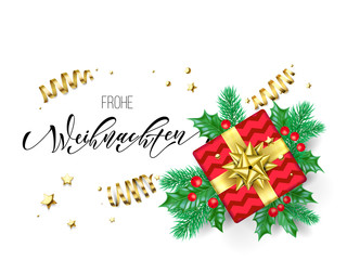 Frohe Weihnachten German Merry Christmas holiday hand drawn quote calligraphy greeting card background template. Vector Christmas tree holly wreath decoration, golden ribbon confetti on white design