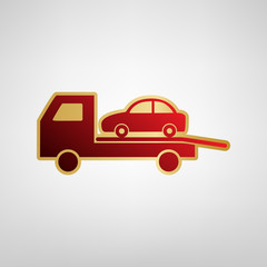 Tow car evacuation sign. Vector. Red icon on gold sticker at light gray background.