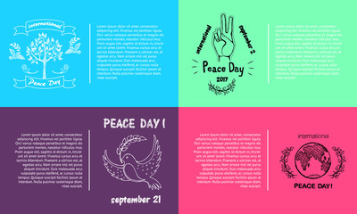 Set of Bright Posters for International Peace Day