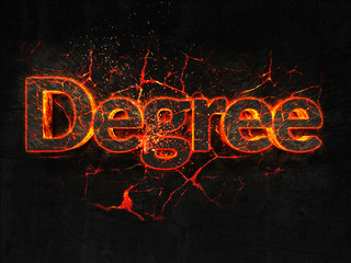 Degree Fire text flame burning hot lava explosion background.