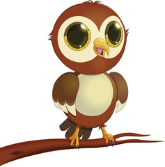 ПечатьCartoon, owl, feathers, bird, cute, animal, illustration, character, funny, eyes, fun, wings  , beak, toy, nature, branch, paws, drawing, fluffy, little