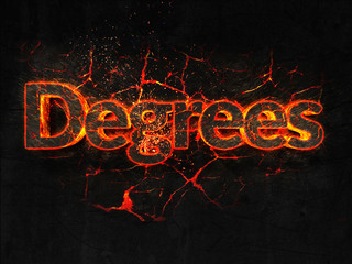 Degrees Fire text flame burning hot lava explosion background.