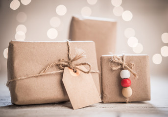 Christmas and New Year concept with handmade gift boxes