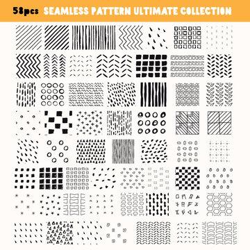 Bundle of Hand-drawn seamless patterns.