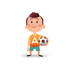 Cartoon little boy holds the ball in his hand. A young man is going to play football. Kid with a soccer ball in flat style