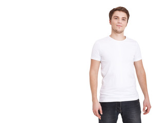 Young man wearing blank white t-shirt isolated on white background. Copy space. Place on tshirt for advertisement