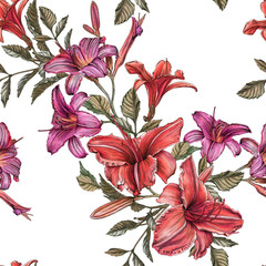 Floral seamless pattern with watercolor daylilies