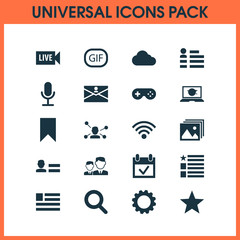 Media Icons Set With Gear, Wireless Connection, Overcast And Other Personal Data