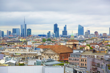 View of Milan city from the roof of Duomo di Milano Cathedral