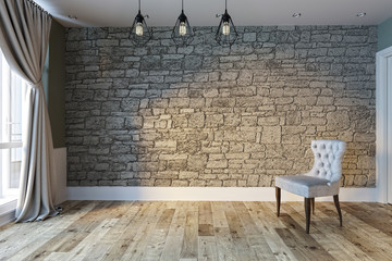 modern bright empty interior design, stone wall and grey chair. 3D rendering