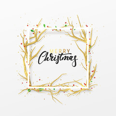 Merry Christmas greeting cards. Xmas background with decor elements golden branches from trees. Elegant Holiday Frame.