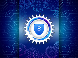 Digital technology protection concept. Futuristic circuit board on the blue background. Cyber data security. Network guard illustration.