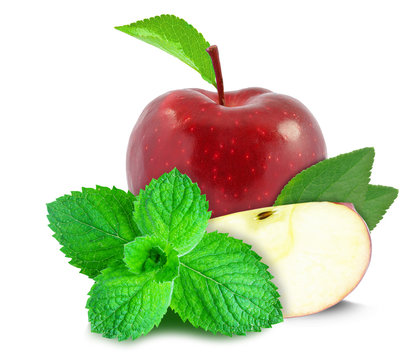 red apple and mint isolated on white background