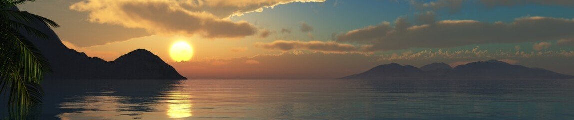 beautiful sea sunset, panorama of the ocean sunset in the tropics,