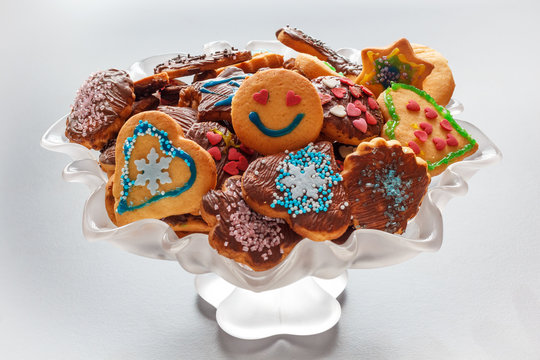 Christmas cookies in a glass bowl