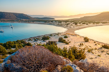 Simos beach in Elafonisos island in Greece. Elafonisos is a small Greek island between the Peloponnese and Kythira with idyllic exotic beaches and waters