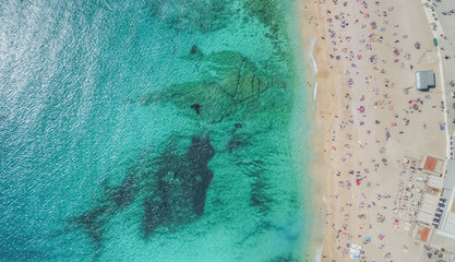 Aerial view of a beach during summer