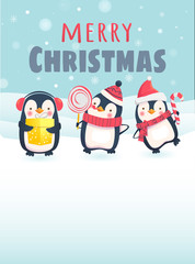 Penguins with Christmas gifts