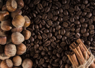 Texture, coffee and hazelnuts, with beautiful glare on the surface