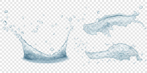 Translucent water crown and splashes with drops in gray colors, isolated on transparent background. Transparency only in vector file