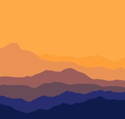 Landscape with blue and purple silhouettes of mountains and hills with beautiful bloody evening sky. Huge mountain range silhouettes in twilight.  illustration.