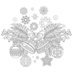 Coloring page with Christmas decorations. Fir tree, jingle bells, christmas balls, vintage snowflakes. Freehand sketch drawing for 2018 Happy New Year greeting card or adult antistress coloring book.