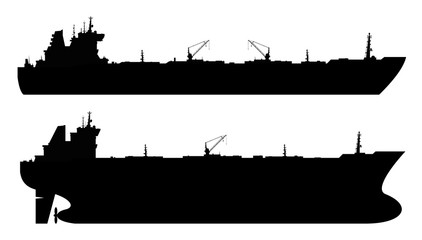 Set of 2 oil tankers isolated white background.  illustration